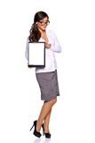 Young businesswoman holding clipboard Stock Photography