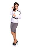 Young businesswoman holding clipboard Stock Photos