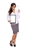 Young businesswoman holding clipboard Stock Images