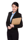 Young businesswoman holding with clipboard Royalty Free Stock Photography