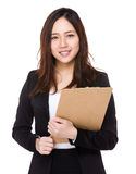 Young businesswoman holding with clipboard Stock Photos