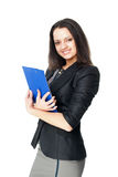 Young businesswoman holding clipboard Stock Photo