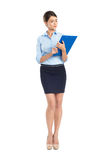 Young Businesswoman Holding Clipboard. Portrait Of Young Businesswoman With Clipboard Isolated On White Background Stock Photos