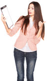 Young businesswoman holding clipboard on white background Royalty Free Stock Photo