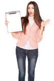 Young businesswoman holding clipboard on white background Stock Photo