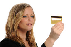 Young businesswoman holding a credit card Stock Photos