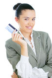 Young businesswoman holding credit card Stock Photo