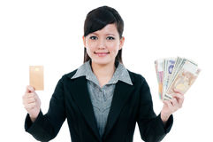 Young Businesswoman Holding Credit Card And Cash Royalty Free Stock Image