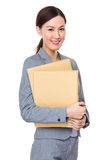 Young businesswoman holding with document work Royalty Free Stock Image