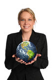 Young businesswoman holding the earth Royalty Free Stock Photo