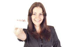 Young businesswoman holding empty blank Stock Photo