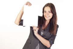 Young businesswoman holding empty blank royalty free stock images