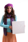 Young businesswoman holding an empty white card. Isolated Stock Images