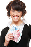 Young businesswoman holding euro Stock Photos