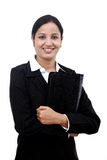 Young businesswoman holding file Stock Photo