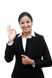 Young businesswoman holding file Stock Image