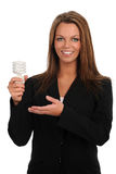 Young Businesswoman Holding Fluorescent Bulb Stock Images