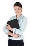 Young businesswoman holding folio, isolated Stock Image