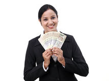 Young businesswoman holding Indian currency Royalty Free Stock Photography