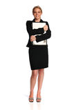 Young businesswoman holding a laptop Royalty Free Stock Photos
