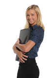 Young Businesswoman holding a laptop computer Stock Images