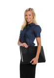 Young Businesswoman holding a laptop computer Stock Image