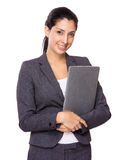 Young businesswoman holding with laptop computer Royalty Free Stock Photos