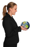 Young Businesswoman holding Planet Earth Royalty Free Stock Image