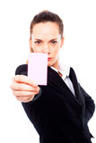 Young businesswoman holding sheets of paper Stock Image