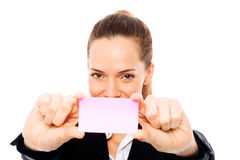 Young businesswoman holding sheets of paper Stock Photography