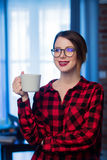 Young businesswoman at home interior Stock Photo