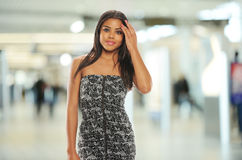Young businesswoman inside a large building Stock Image