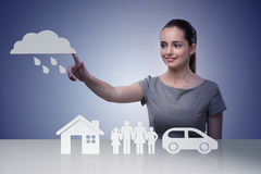 The young businesswoman in insurance concept Stock Photography