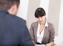 Young businesswoman at the interview Stock Image