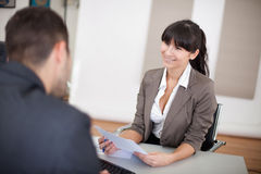 Young businesswoman at the interview royalty free stock images