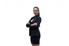 Young businesswoman. Isolate on a white Royalty Free Stock Photo