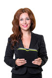 Young businesswoman isolated on white holding the tablet with a list of tasks looking at the camera and smiling. Business concept Stock Images