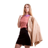 Young businesswoman with jaket on shoulder Stock Image