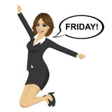 Young businesswoman jumping happy with friday text on speech bubble Royalty Free Stock Photos