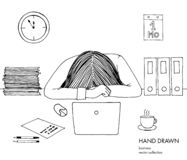Young businesswoman laid her head down on the table. Frustrated, exhausted, sleepy, tired of work. Laptop, computer, pc. Papers, coffee. Hand drawn black white vector illustration