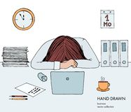 Young businesswoman laid her head down on the table. Frustrated, exhausted, sleepy, tired of work. Laptop, computer, pc. Papers, coffee. Hand drawn vector royalty free illustration