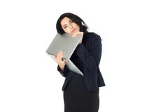 Young businesswoman with laptop. Young beautiful businesswoman with laptop isolated on white background Stock Photo