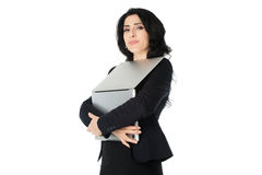 Young businesswoman with laptop. Young beautiful businesswoman with laptop isolated on white background Stock Images