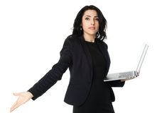 Young businesswoman with laptop Royalty Free Stock Image