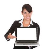 Young businesswoman with laptop Stock Images