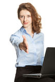 Young businesswoman with a laptop royalty free stock images
