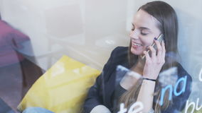 Young Businesswoman Laughing During a Phone Call stock video footage