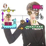 Young businesswoman with logistic movements Royalty Free Stock Photos