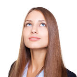 Young businesswoman looking up isolated on w Royalty Free Stock Images