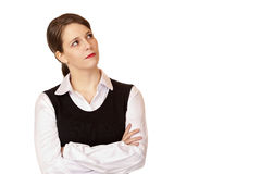 Young businesswoman looks up into the corner Stock Photos